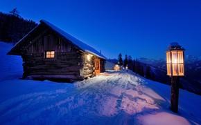Картинка зима, снег, ночь, фонарь, light, house, landscape, night, winter, snow