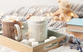 Картинка зима, кружка, style, winter, cup, какао, teddy bear, cute, xmas, mug, knitted clothes, hot chocolate, …