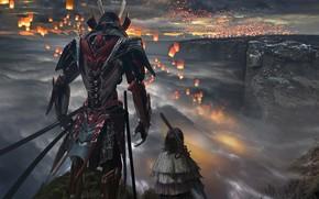 Картинка тучи, воин, холм, фонарики, samurai armor