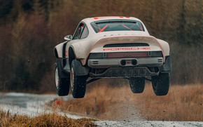 Картинка брызги, прыжок, 911, Porsche, Singer, acs, 2021, SCRS, All-terrain Competition Study