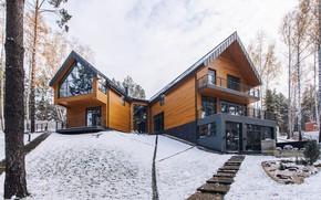 Картинка зима, снег, дом, окна, house, forest, архитектура, sky, modern, winter, snow, tree, window, модерн, architecture