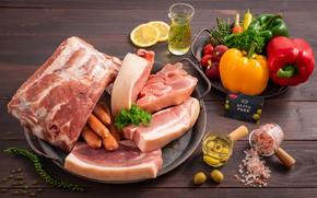 Картинка лимон, сосиски, мясо, перец, овощи, оливки, соль, редис