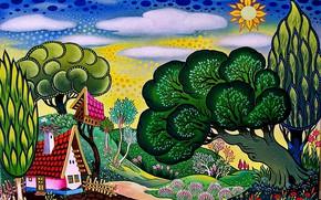 Картинка яркие краски, абстракция, сказка, Сказочный мир, весна пришла, забавные иллюстрации, шутливые рисунки, художник Ласло Кодай …