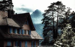 Картинка деревья, горы, дом, меланхолия, пасмурное небо