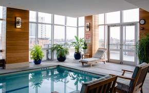 Картинка интерьер, бассейн, пентхаус, помещение