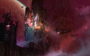 Картинка city, space, fantasy, science fiction, fog, sci-fi, planet, digital art, buildings, artwork, skyscrapers, fantasy art, …