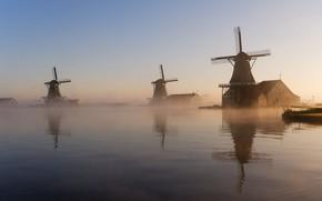 Картинка туман, утро, мельницы