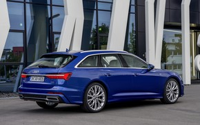 Картинка стекло, синий, Audi, 2018, универсал, A6 Avant