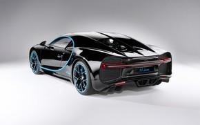 Картинка фон, чёрный, арт, вид сзади, гиперкар, Bugatti Chiron