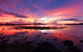 Картинка море, волны, пляж, лето, небо, закат, берег, summer, beach, sky, sea, sunset, pink, seascape, beautiful, …