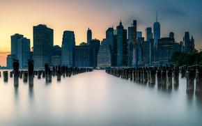Картинка ночь, город, New - York