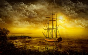 Картинка море, небо, облака, свет, пейзаж, закат, цветы, тучи, природа, рендеринг, берег, корабль, вечер, паруса, водоем, …