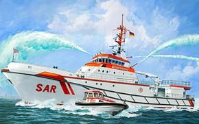 Картинка по спасению потерпевших крушение, Search & Rescue Vessel Hermann Marwede, поисково-спасательная группа, Корабль Немецкого общества