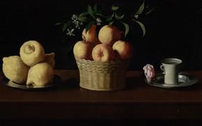 Картинка Francisco de Zurbaran, 1633, Натюрморт с фруктами и чашкой