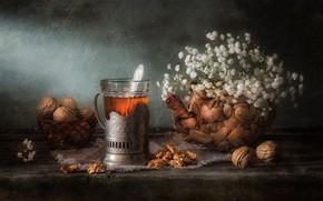 Картинка цветы, стол, чай, букет, чаепитие, напиток, орехи