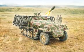 Картинка war, art, tank, ww2, Sd. Kfz. 251