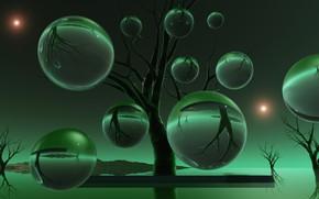 Картинка шары, зелёный цвет, деРевья