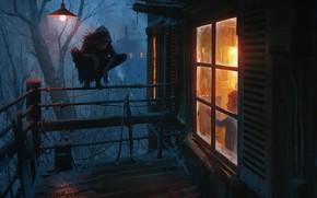 Картинка Зима, Ночь, Мальчик, Монстр, Дом, Лампа, Свет, Балкон, Окно, Ребенок, Демон, Ужас, Фантастика, Холод, Nikolai …
