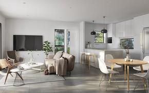 Картинка интерьер, кухня, гостиная, столовая