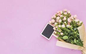 Картинка фон, розовый, розы, букет