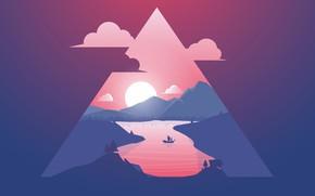 Картинка Закат, Солнце, Минимализм, Река, Корабль, Силуэт, Треугольник