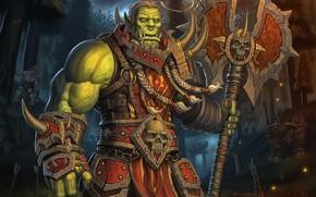Картинка Лес, World of Warcraft, Fantasy, Blizzard, Art, Орк, Game, WarCraft, Тролль, Characters, Таурен, Game Art, ...