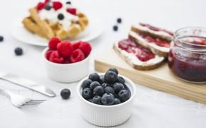 Картинка ягоды, завтрак, вафли, джем, jam, Morning, Sweet, Bread