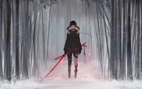 Картинка Girl, Winter, Style, Snow, Fiction, Jun, Sword, Forest, Aoi Ogata