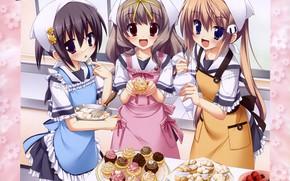 Картинка радость, клубника, сладости, косынка, на кухне, фартук, подружки, visual novel, кексики, кулинария, Koiiro Soramoyou, три …