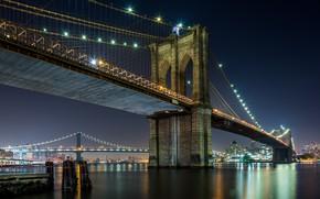 Картинка Бруклинский Мост, Вечер, Город