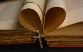 Картинка бумага, крест, стразы, листы, книга, украшение, цепочка, религия, крестик, страницы, старинная, камушки, вера, старая, Библия, …
