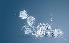 Картинка лед, вода, всплеск, кубики льда
