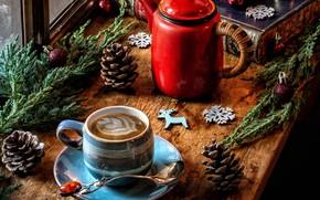 Картинка шарики, снежинки, ветки, книги, кофе, чайник, окно, Рождество, кружка, шишки
