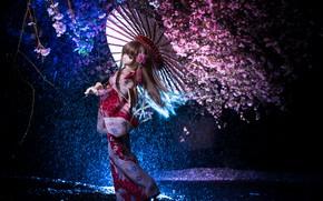Картинка ночь, зонтик, японка, кукла, сакура, кимоно