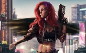 Картинка девушка, город, оружие, фантастика, Девушка