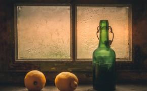 Картинка бутылка, окно, лимоны