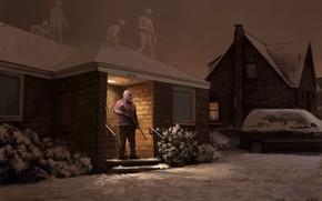 Картинка ночь, дом, существа, дедушка, ружьё, охотник