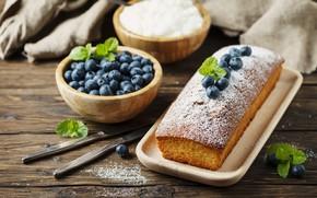 Картинка ягоды, черника, выпечка, кекс, сахарная пудра, Oxana Denezhkina