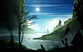 Картинка горы, замок, луна, воин, Border Castle City