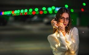 Картинка огни, Девушка, очки, Dmitry Medved
