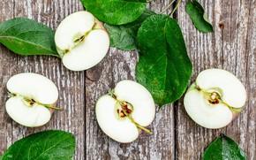 Картинка листья, яблоки, долька, плод