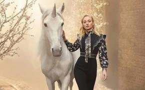 Картинка конь, лошадь, актриса, Софи Тёрнер, Sophie Turner, единорг