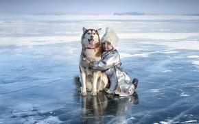 Картинка зима, лёд, собака, девочка