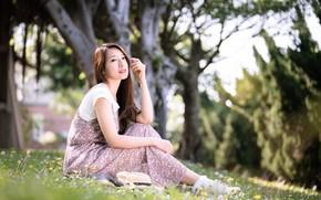 Картинка девушка, азиатка, боке