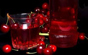 Картинка стакан, черешня, компот