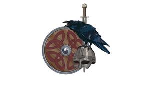 Картинка узоры, меч, шлем, щит, ворон, викинги