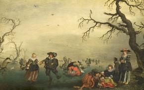 Картинка масло, картина, 1625, Адриан ван де Венне, Adriaen van de Venne, Фигуристы
