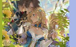 Картинка декольте, перчатки, корсет, голубые глаза, венок, флирт, оранжерея, смущение, почти поцелуй, чокер, парень с девушкой, …