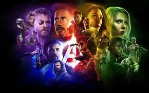 Обои супергерои, фантастика, Мстители: Война бесконечности, MARVEL, черный фон, коллаж, комикс, Avengers: Infinity War, персонажи, постер