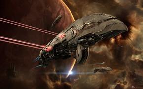 Картинка космос, туманность, планета, станция, space, битва, космический корабль, station, eve online, battle, space ship, космоопера